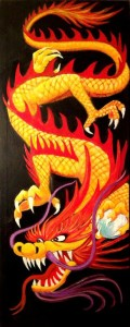 "Golden Fire Dragon, 12"" x 30"" x 2"" acrylic on canvas"