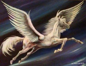 "Pegasus, 11"" x 14"" acrylic on canvas"