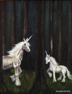 "Unicorn Forest, 8"" x 10"" oil on canvas"